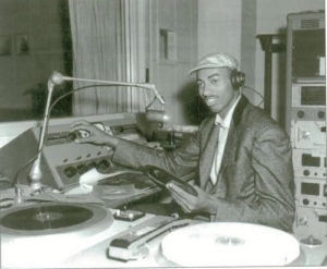 Wilt Chamberlain at radio of Kansas University